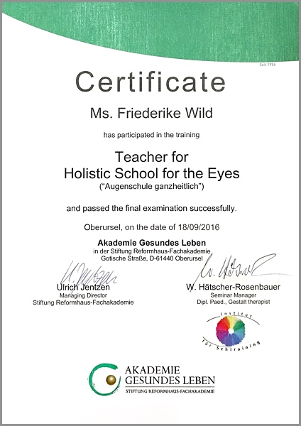 Certificate Teacher for Holistic School for the Eyes